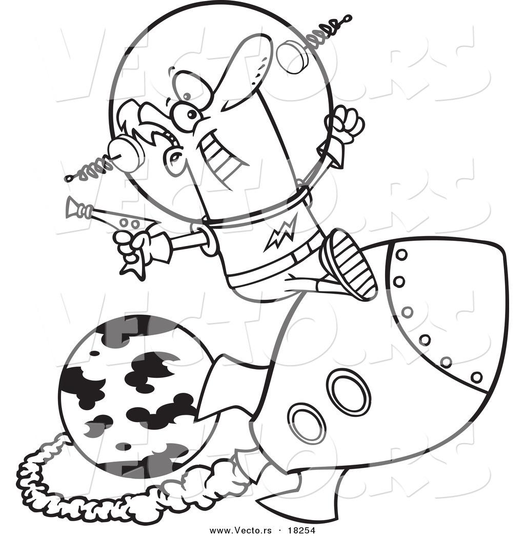 1024x1044 Vector Of A Cartoon Space Man Riding A Rocket