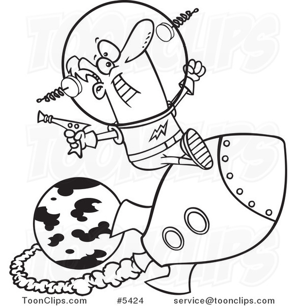 581x600 Cartoon Blacknd White Line Drawing Of Space Guy Riding