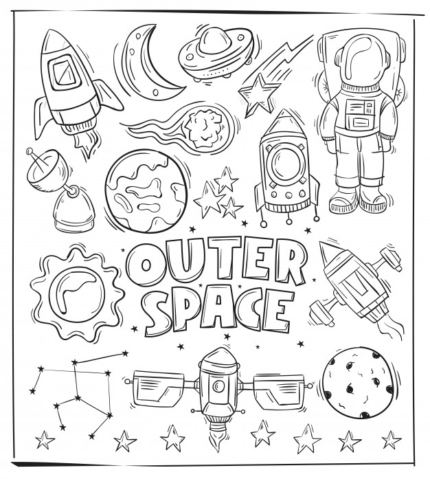 626x697 Hand Drawing Outer Space Icon And Symbol Vector Premium Download