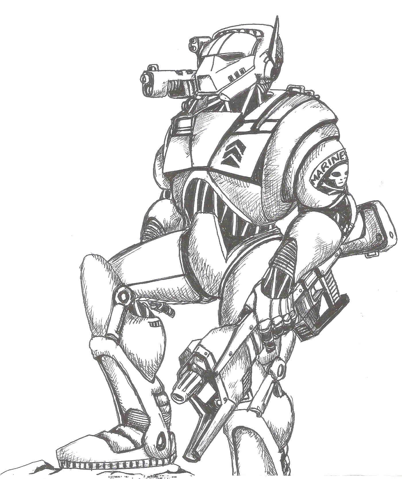 1400x1667 Space Marine By Damonyo