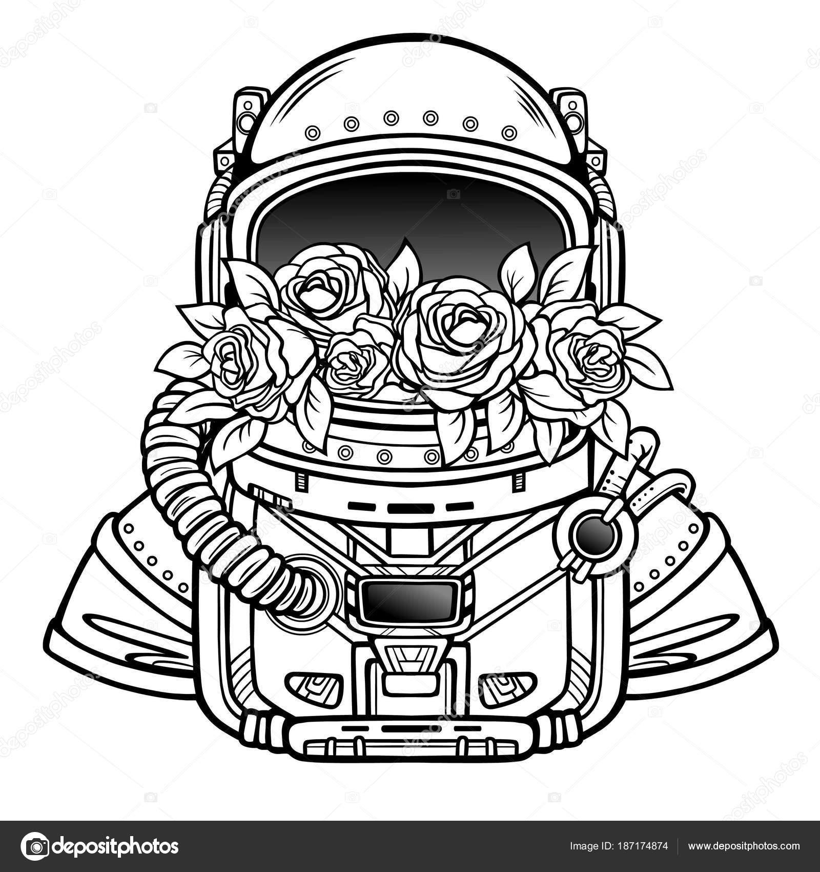 1600x1700 Space Helmet Astronaut Filled Flowers Roses Linear Monochrome