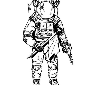 300x300 Astronaut, An Astronaut Wearing A Damage Spacesuit Coloring Page