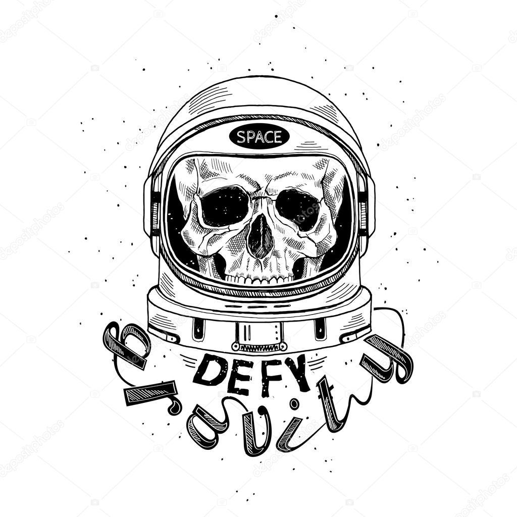 1024x1024 Scull In Astronaut Helmet Stock Vector Olga.angelloz