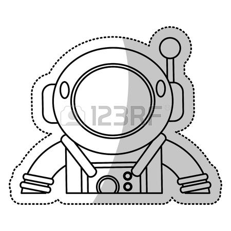 450x450 Astronaut Suit Helmet Space Outline Vector Illustration Eps 10