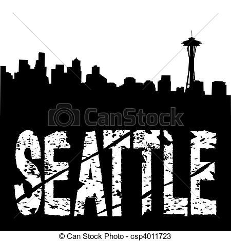 450x470 Seattle Text With Skyline. Seattle Grunge Text With Skyline