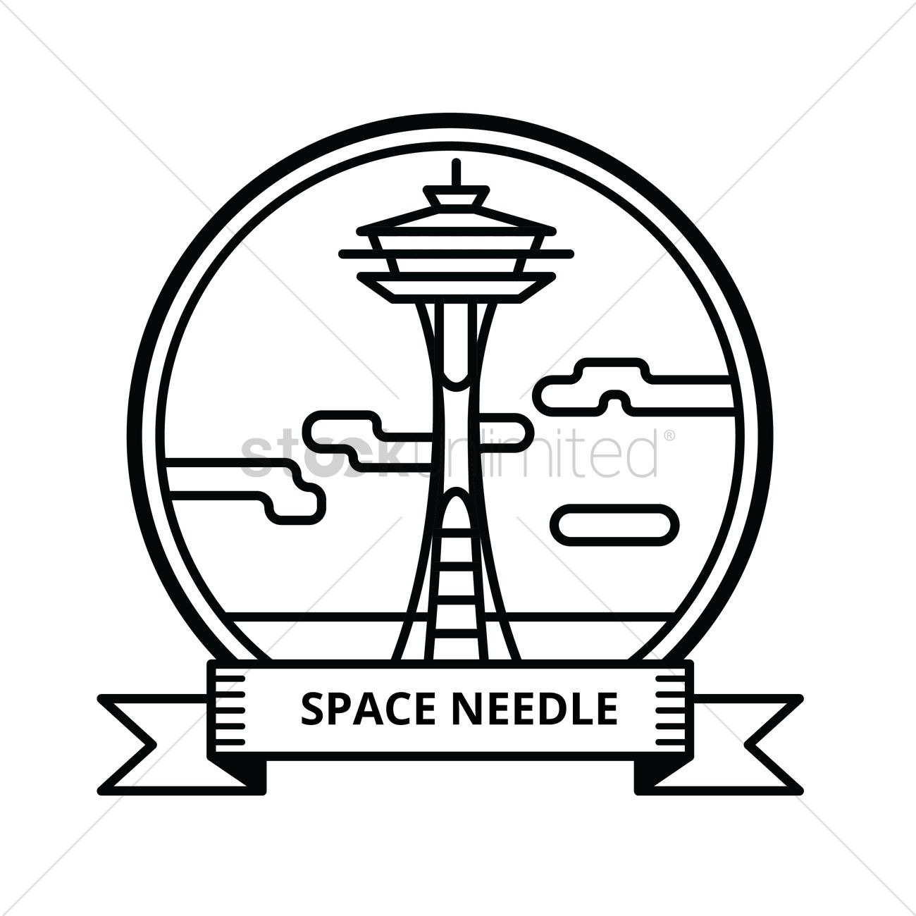 1300x1300 Space Needle Vector Image