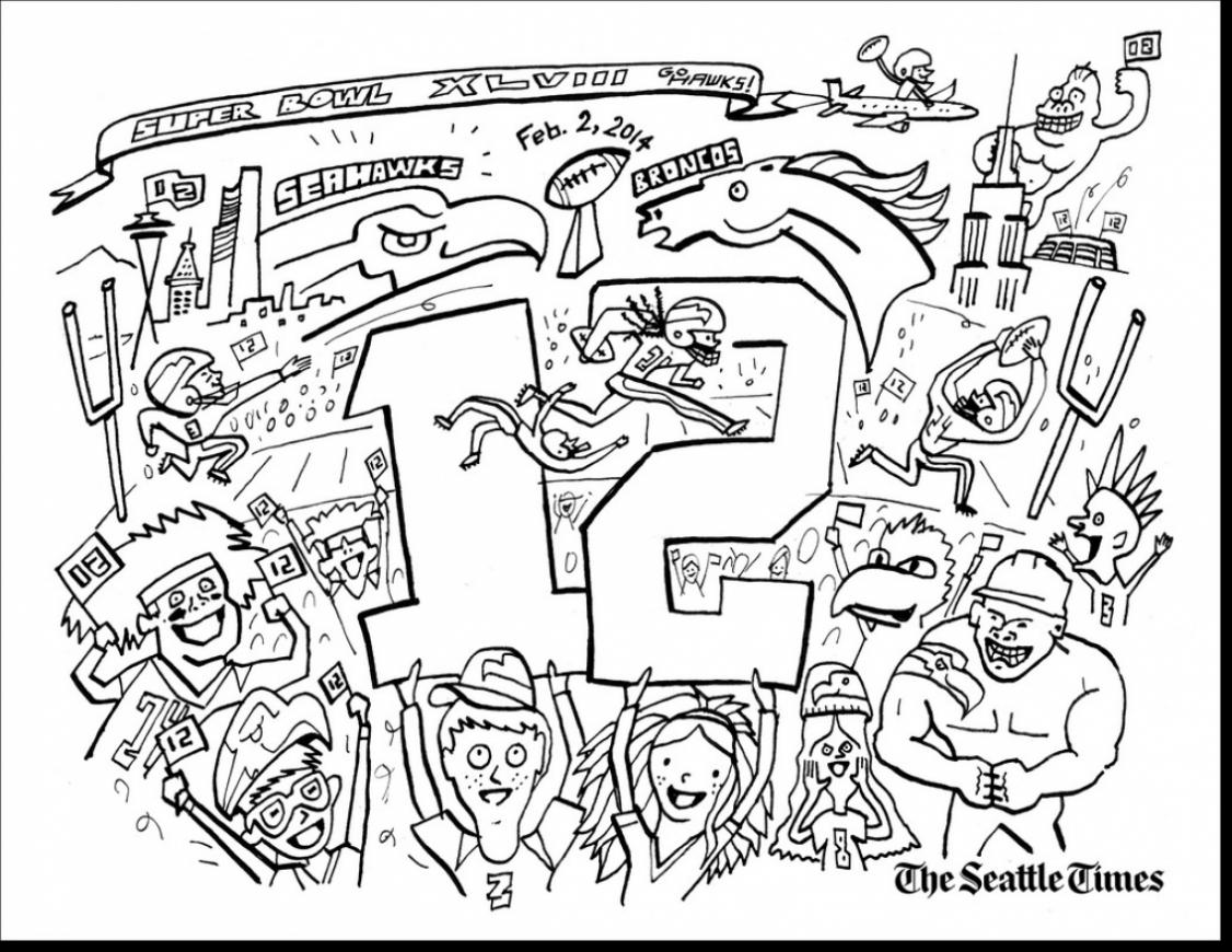 1126x870 Terrific Seattle Space Needle Drawing With Seahawks Coloring Pages