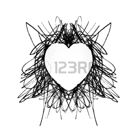 450x439 Drawn Heart, A Heart Shaped Negative Space Left By Thin Pencil
