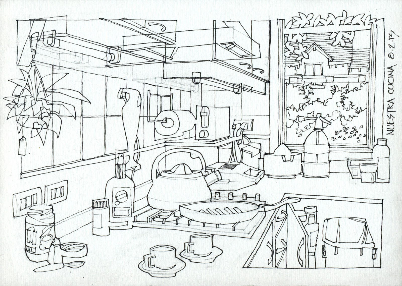 1600x1139 Kitchen Step By Step (17 X 24 Cm) 1) I Plan The Drawing In Pencil