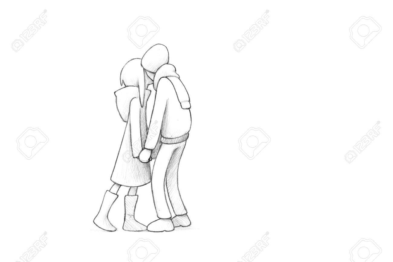 1300x866 Pencil Illustration, Drawing Of Young Couple In Love High