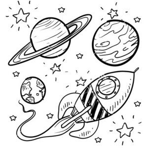 300x300 Doodle Space Planets Rocket Ship Stars Explore Vector Tatto