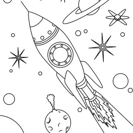 440x440 Rocket In Space Coloring Page Rockets