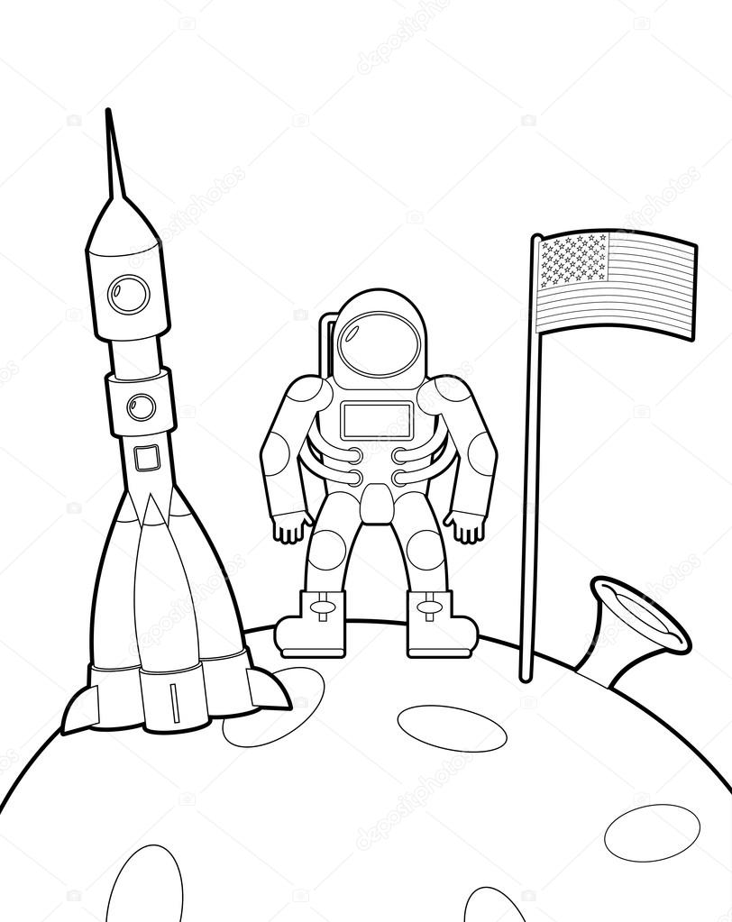 812x1023 Astronaut With A Flag On Moon. Space Rocket Ship Coloring Book