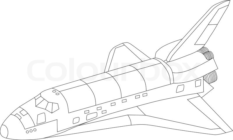 800x481 Vector Space Shuttle Isolated On White Background Stock Vector