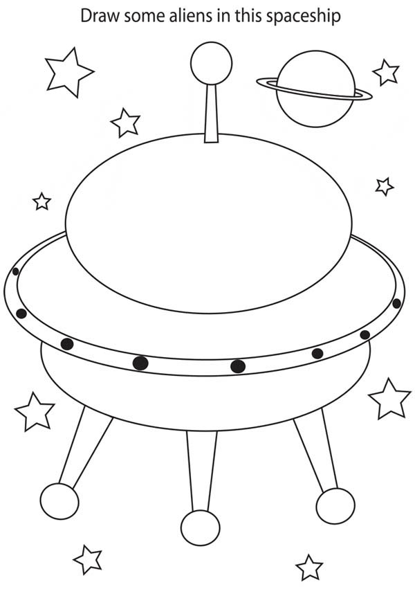 600x874 Drawing Alien In Spaceship Coloring Page