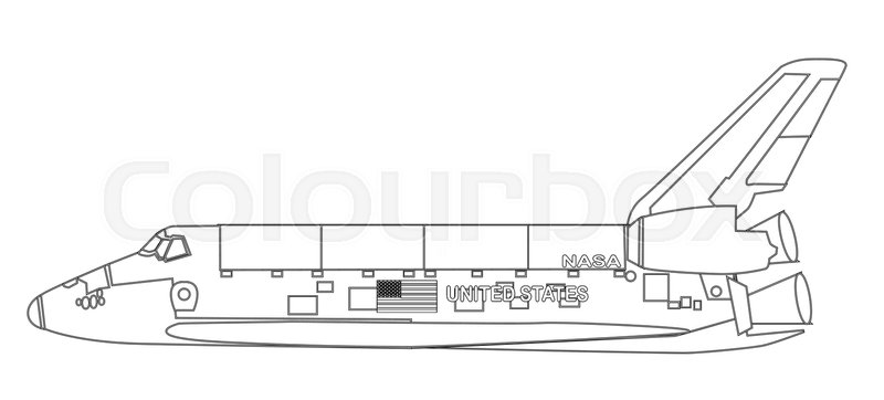 800x362 A Typical Space Shuttle Line Drawing Over A White Background