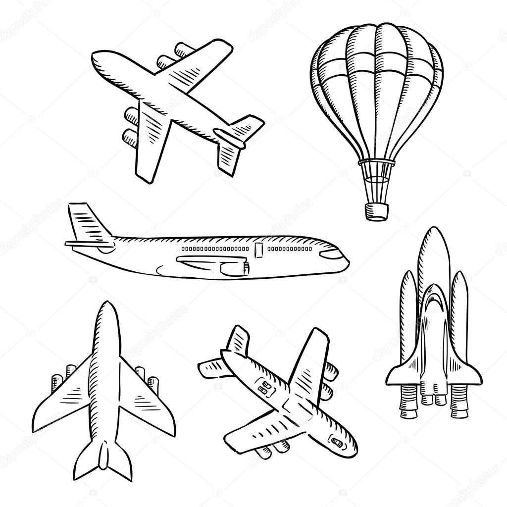 1024x1024 Airplanes, Space Shuttle, Hot Air Balloon Sketches Stock Vector