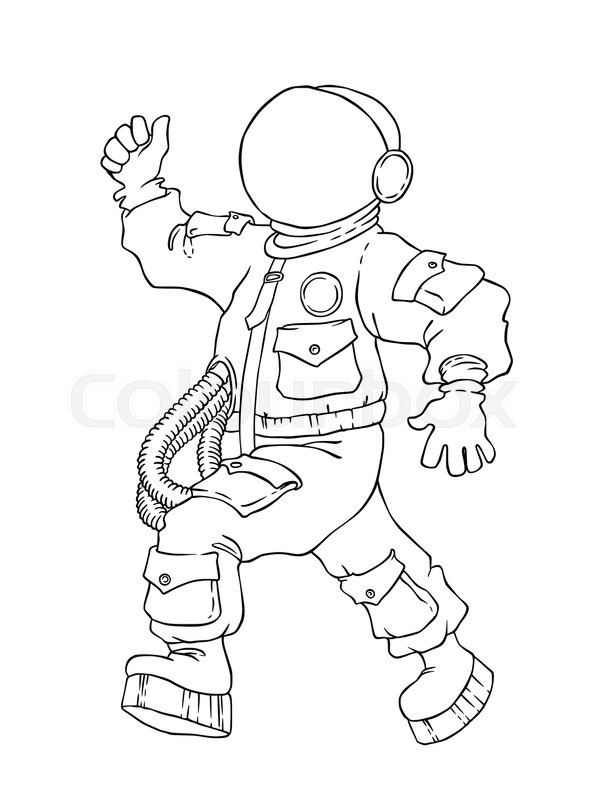600x799 Illustration Of Walking Cheering Astronaut In Space Suit