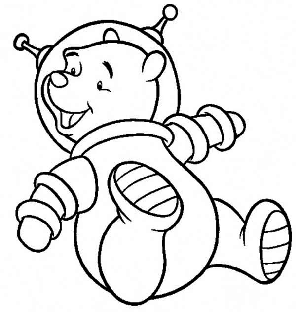 600x631 Winnie The Pooh On The Astronaut Spacesuit Coloring Page