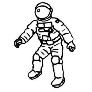 300x300 An Astronaut Holding A Flag Outside The Spacecraft Coloring Page