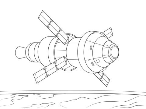 480x358 Orion Spacecraft Service Module Coloring Page