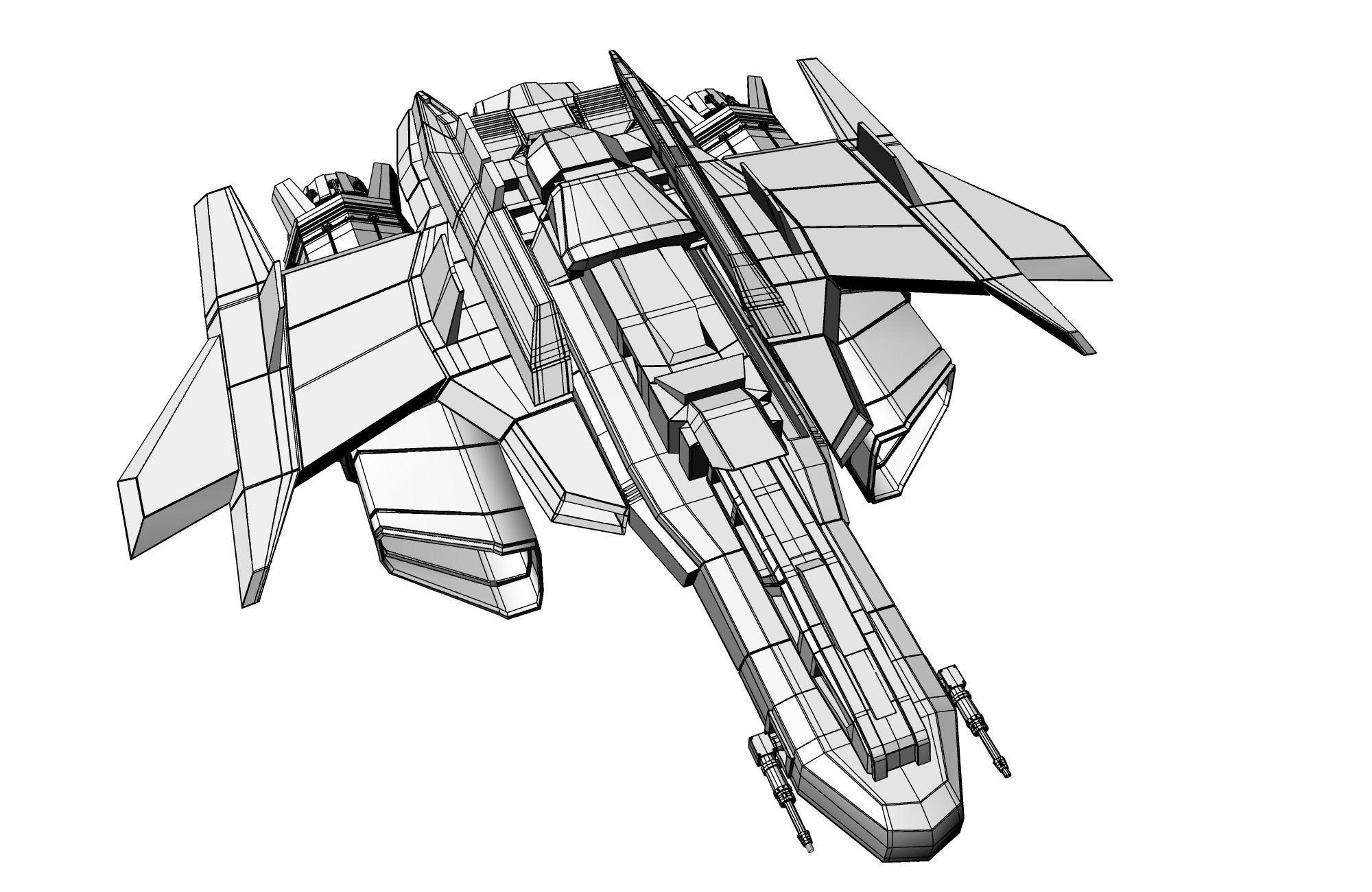 2000x1300 3d Model Spaceship Spacecraft Jet Cgtrader