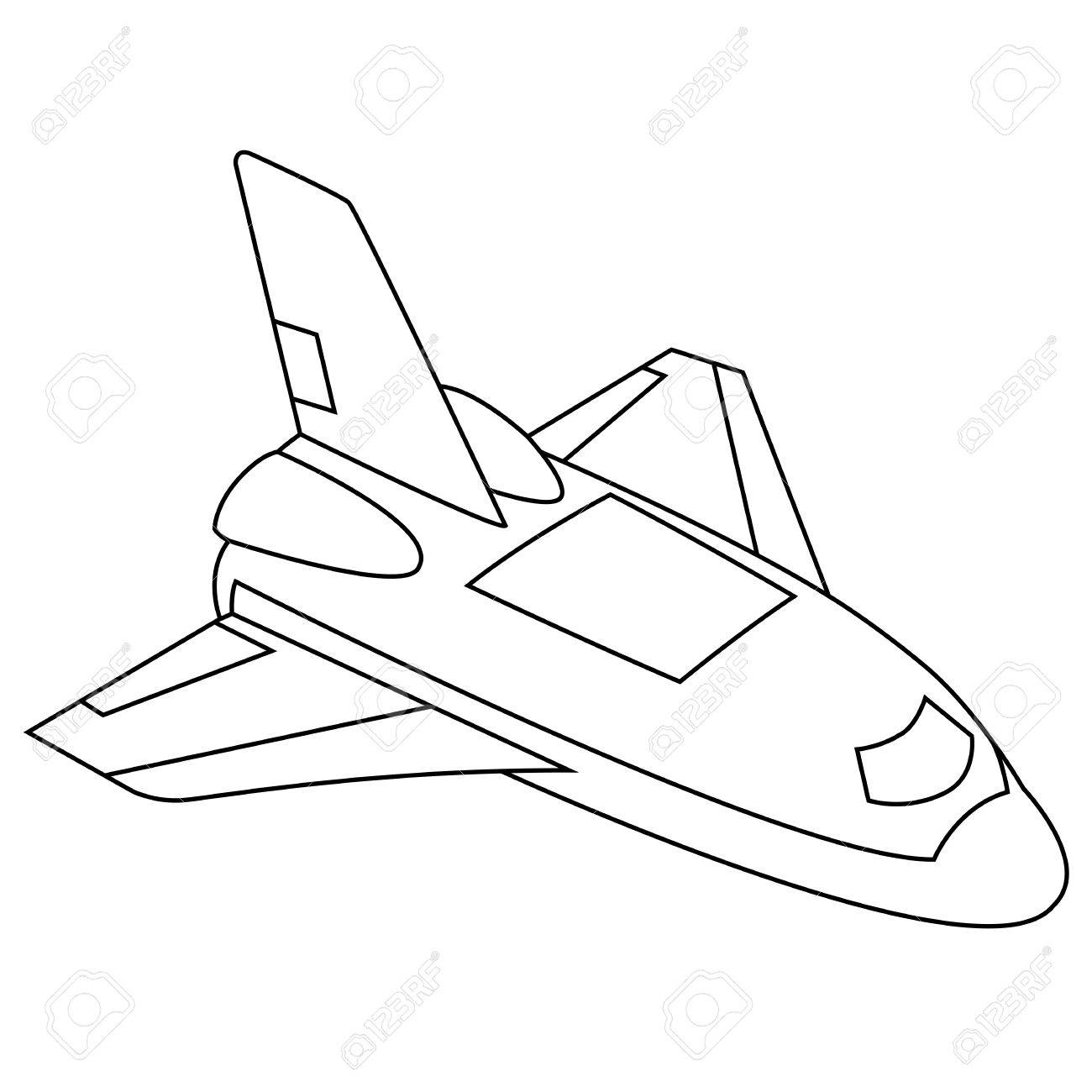 1300x1300 Black Outline Vector Spacecraft On White Background. Royalty Free