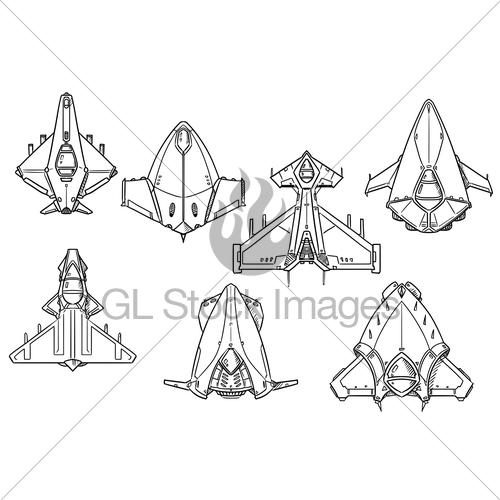 500x500 Cartoon Vector Set Of Spaceship Spacecraft Designs Gl Stock Images