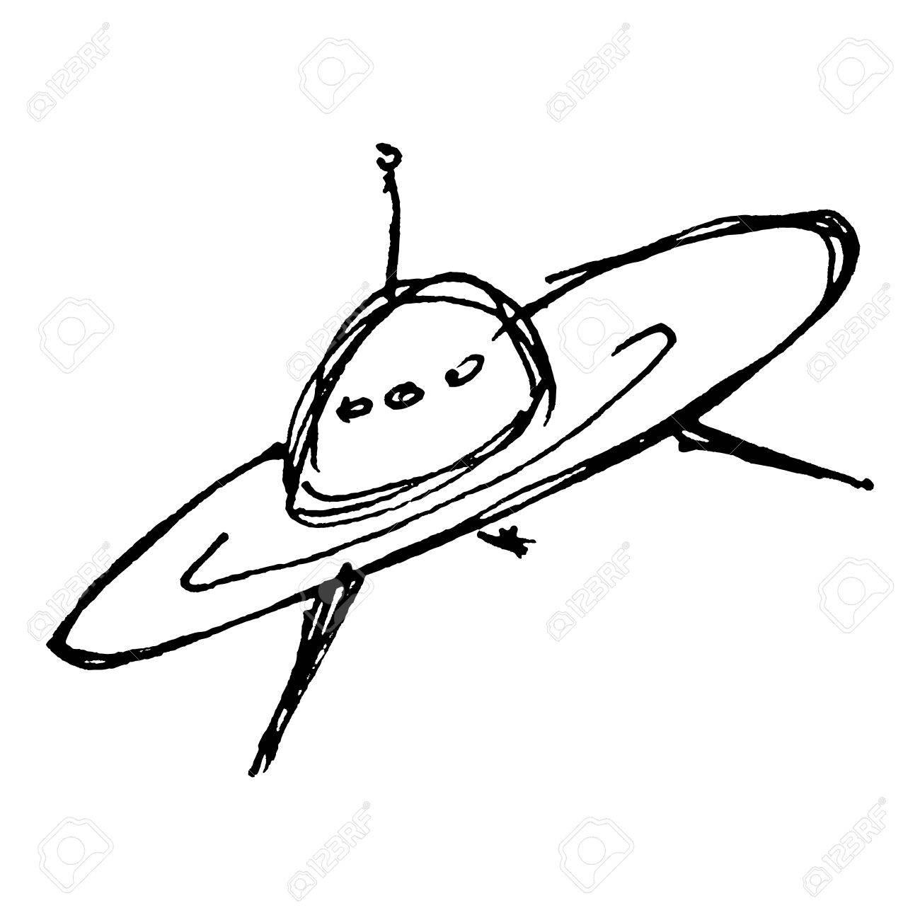 1300x1300 Hand Drawn Cartoon Style Spaceship Design Stock Photo, Picture