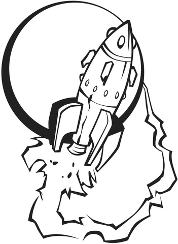 351x480 Spaceship Leaving The Moon Coloring Page Free Printable Coloring