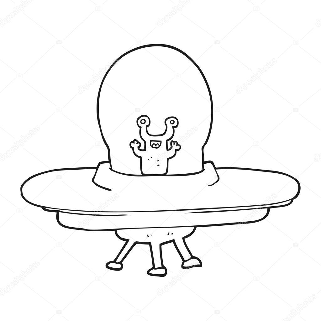 1024x1024 Black And White Cartoon Alien Spaceship Stock Vector