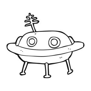 300x300 Freehand Drawn Black And White Cartoon Alien Spaceship Royalty