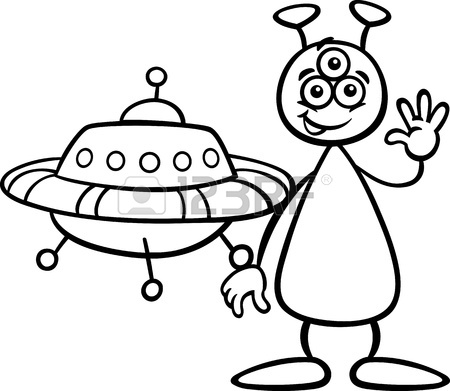 450x391 Black And White Cartoon Illustration Of Funny Alien Or Martian