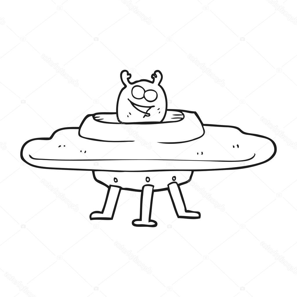 1024x1024 Hd Stock Illustration Black And White Cartoon Spaceship Cdr