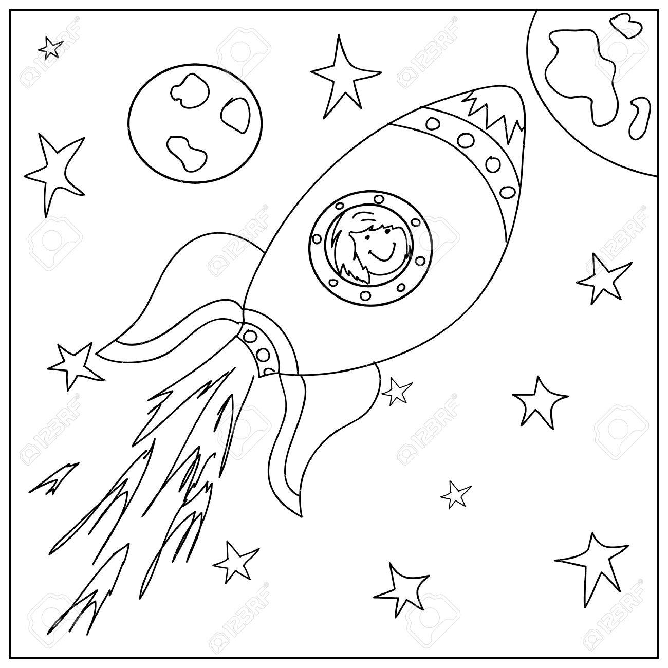 1300x1300 Spaceship Kids Coloring Page Stock Photo, Picture And Royalty Free