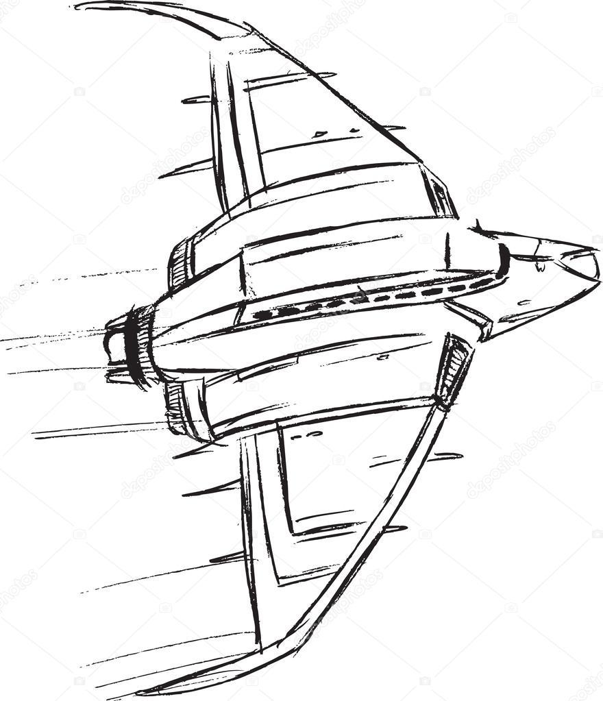 880x1023 Spaceship Sketch Doodle Vector Illustration Art Stock Vector