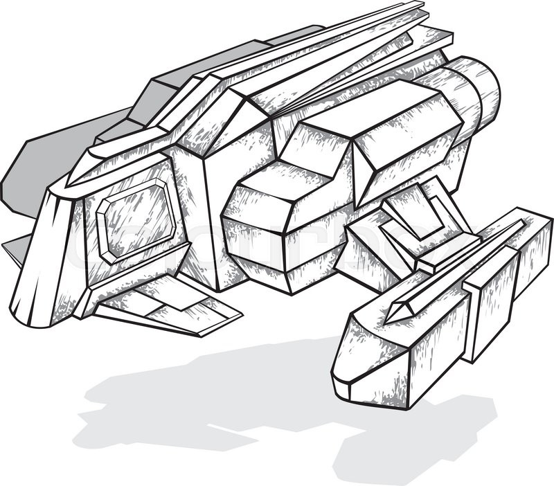 800x702 Black And White Drawing Of Spaceship, Vector Illustration Stock