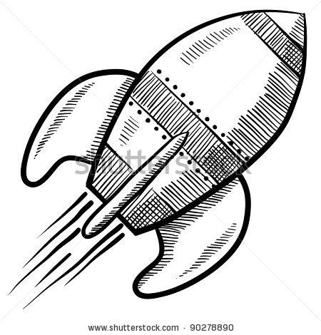 450x470 Doodle Style Retro Rocket Or Spaceship Vector Illustration