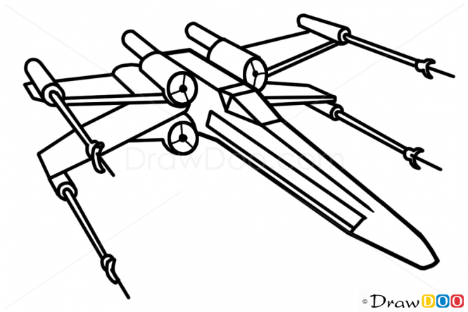 665x443 How To Draw X Wing, Star Wars, Spaceships Tattoo