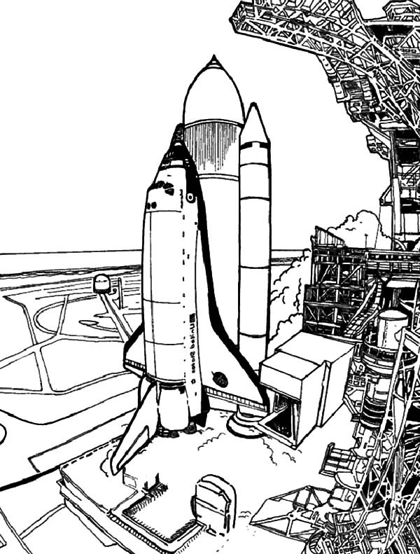 600x791 Spaceship Prepare Before Launch For Space Travel Coloring Pages