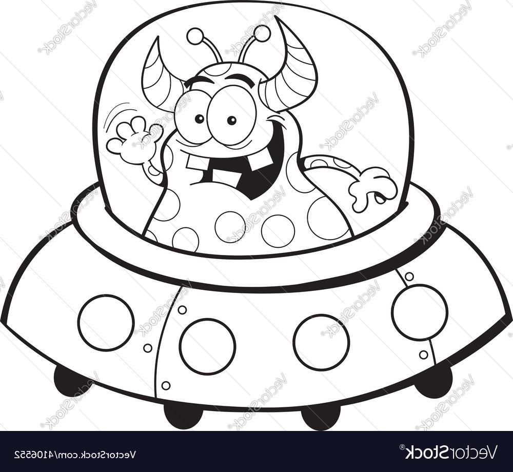 1000x920 Unique Cartoon Alien In Spaceship Vector Images