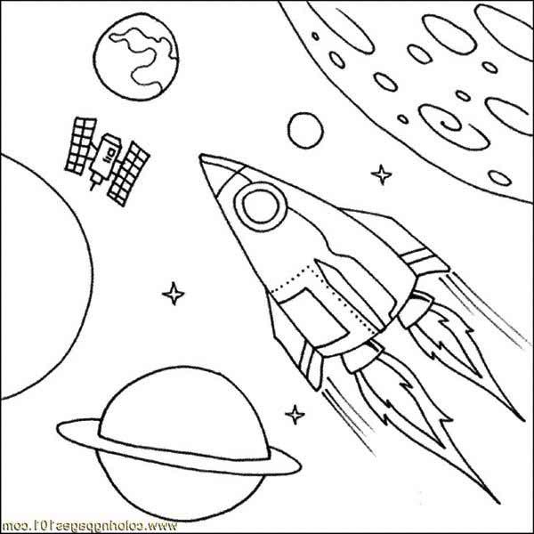 600x600 Satellite Spaceship Coloring Page