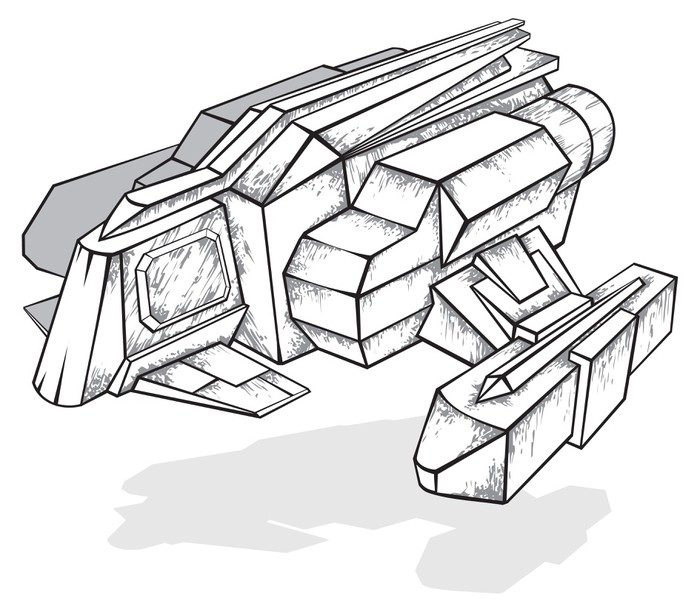 700x612 Black And White Drawing Of Spaceship, Vector Illustration Sticker