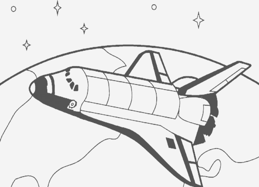 Spaceship Line Drawing