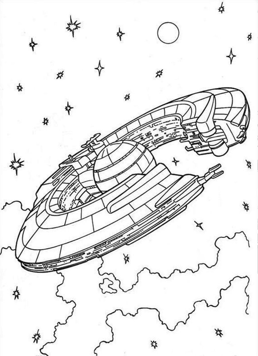 900x1240 Spaceship Coloring Page