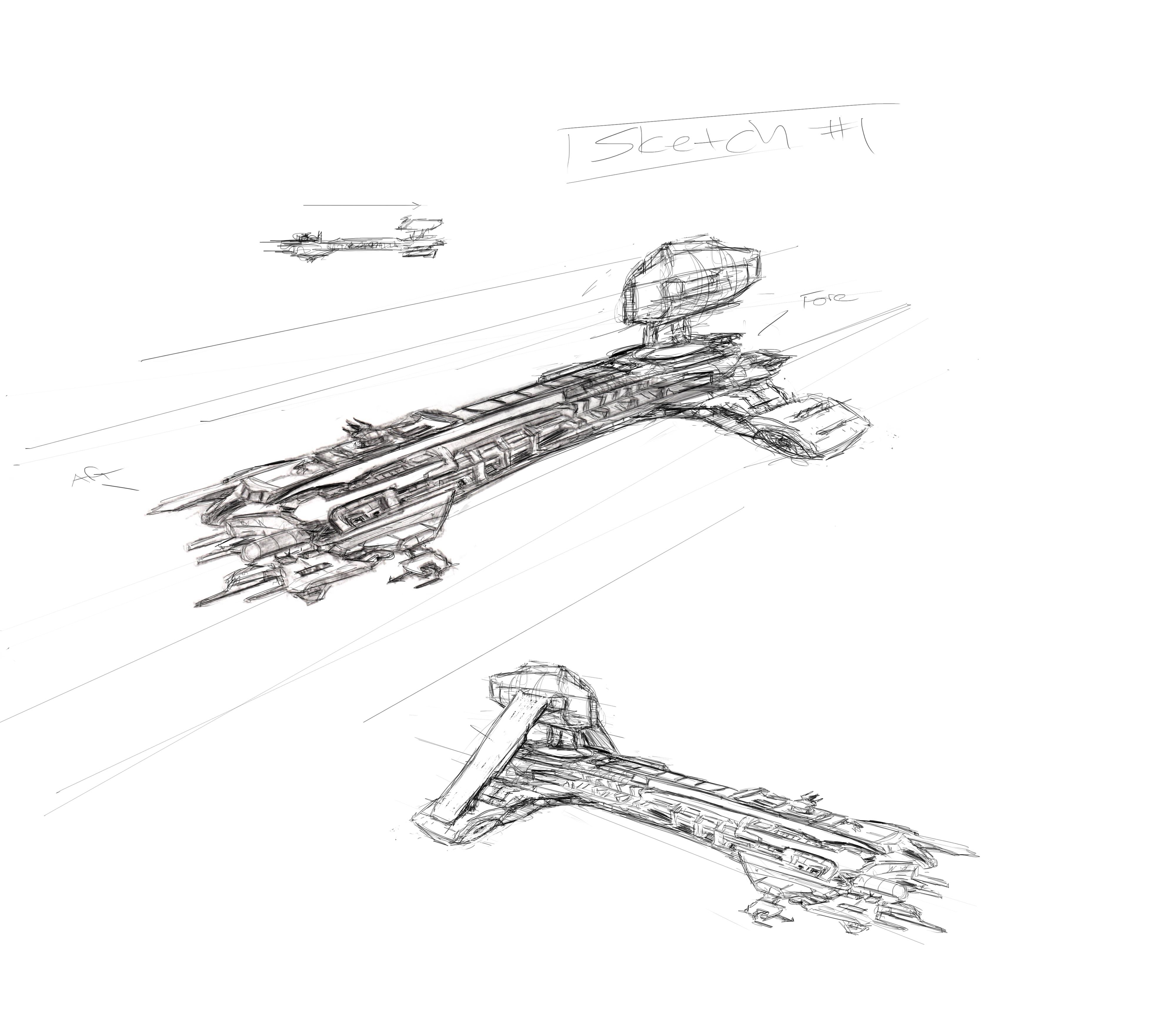 4000x3500 Spaceship Sketch