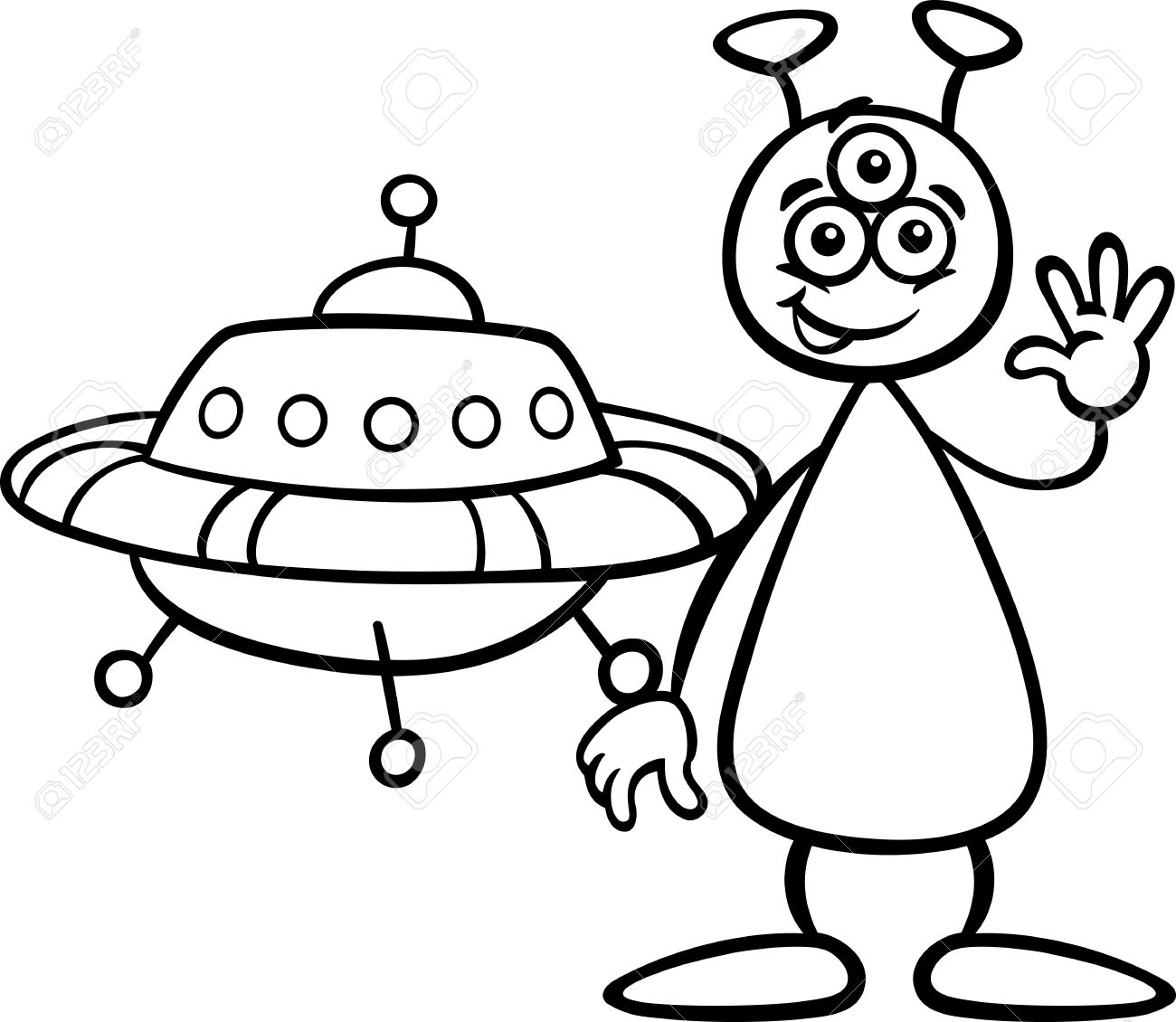 1300x1130 Drawn Spaceship Cartoon Alien