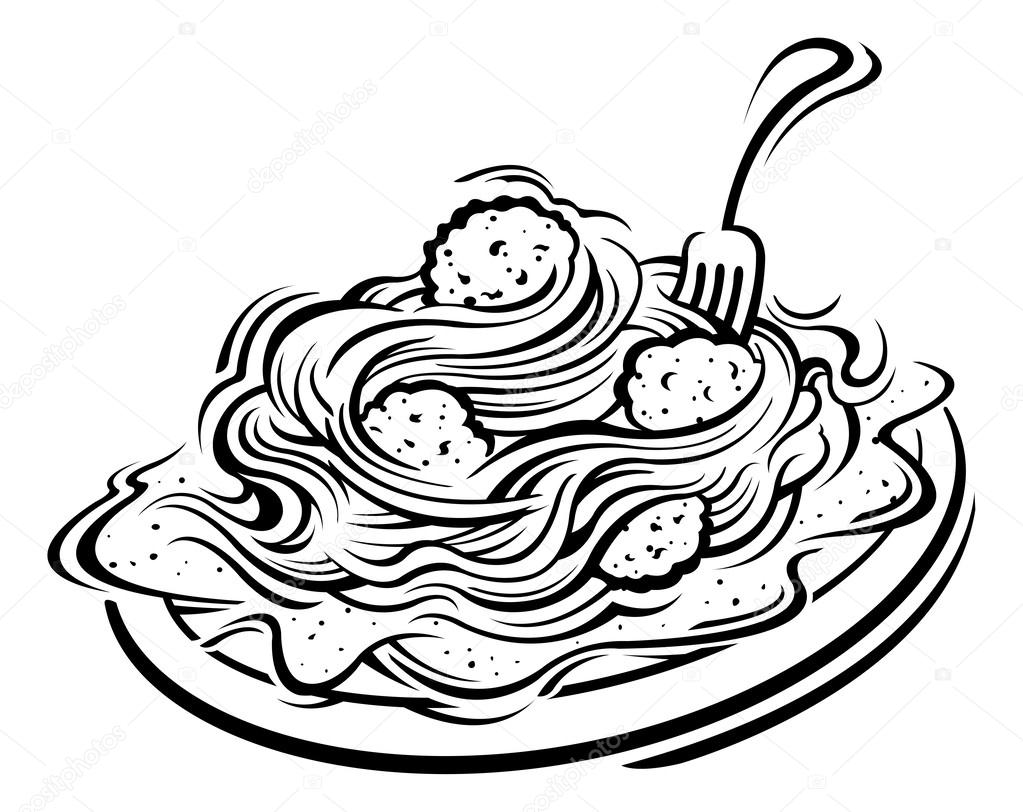 Spaghetti drawing at free for personal for Italian food coloring pages