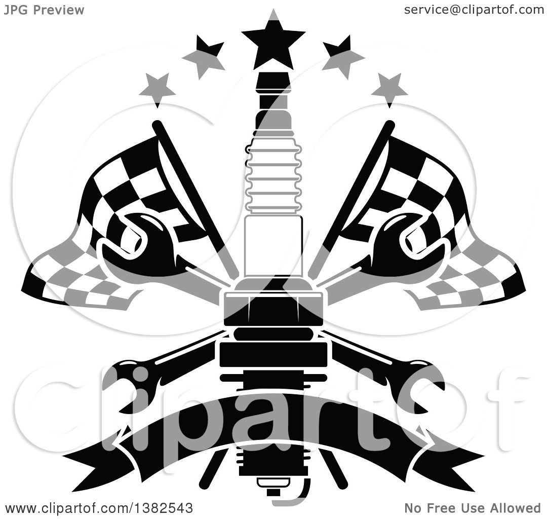 1080x1024 Clipart Of A Black And White Spark Plug, Crossed Wrenches, Blank