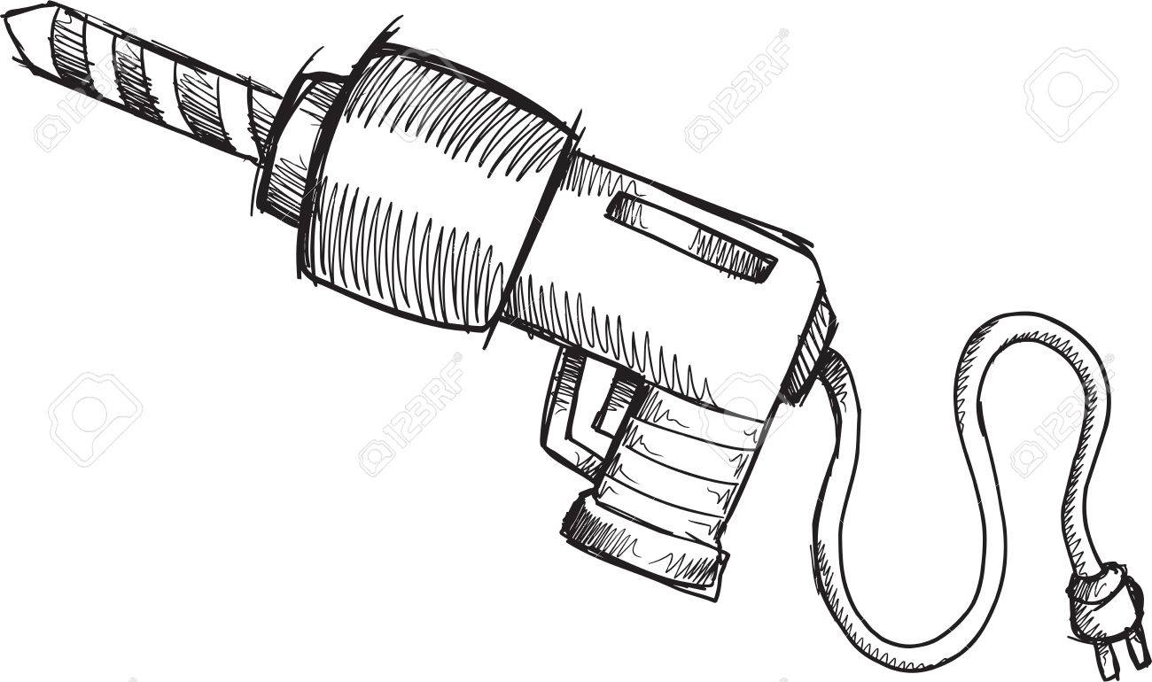 1300x770 Doodle Sketch Power Drill Vector Illustration Art Royalty Free